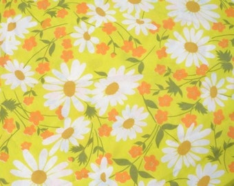 Funky Flower Fabric- Bold Floral Print- Olive Green- Yellow & White Daisies-Orange Flowers on Yellow-Flower Power Material - Sewing-Crafting