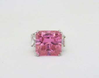 Vintage Sterling Silver Pink Topaz & White CZ High Dome Ring Size 8