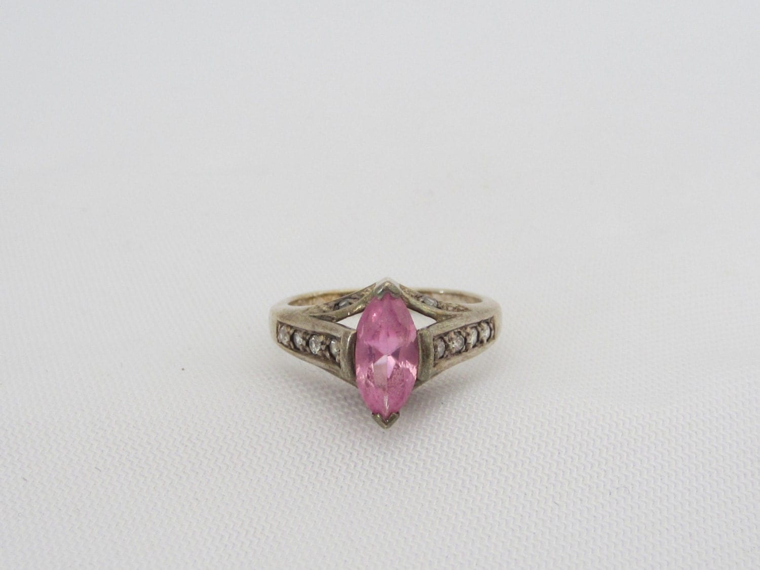 Vintage Avon Sterling Silver Pink Amp White Topaz Ring Size 6 5