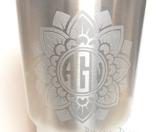 Mandala Monogram Decal, Yeti Decal