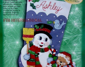 "Bucilla Snowman ~ "" Felt Christmas Stocking Kit #84142, Broom, Teddy Bear, Bird DIY"