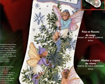 "Bucilla 18"" Fairies and Snowflakes Counted Cross Stitch Stocking Kit #84828 DIY"