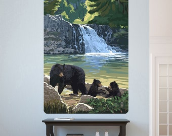 Bear and Cubs by a Waterfall Wall Decal - #60978