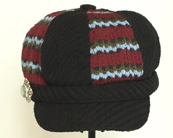 Black and Red with blue/brown knitted Newsboy/Cabbie Cap with Jesus embellishment