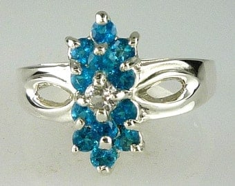 Natural Madagascar Neon Apatite Cluster Ring 925 Sterling Silver Size One of a kind