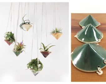 """air plant hanging planter / air plant holder / mini cone 3"""" wide / oribe green"""