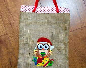 A Embroidered Owl, Burlap Gift Bag.