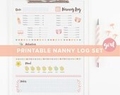 Printable Nanny Log Set - Baby to 1 Year - Babysitter Chart for Girls