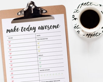Printable Daily Planner Page - To-Do List - PDF File