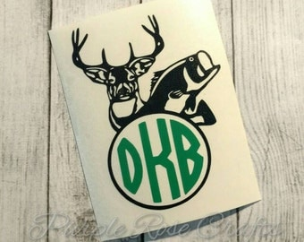 Deer Fish Country Monogram Initials Decal - sticker - cling - laptop - window - car - tablet - computer - cup - Country girl - hunter