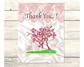 Cherry Blossoms Wedding Thank You Cards Customizable - Printable Digital Download