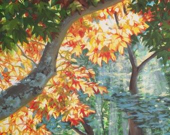 Sunlight Through the Trees, acrylic painting on canvas