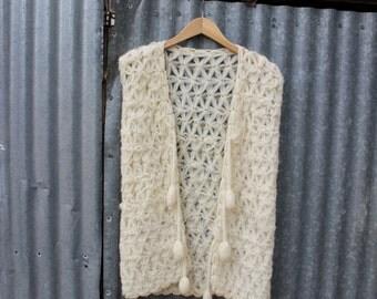 Vintage 1970s Open Crocheted Pom Pom Vest
