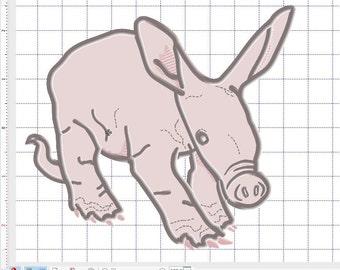 Cute Baby Aardvark applique 5x7