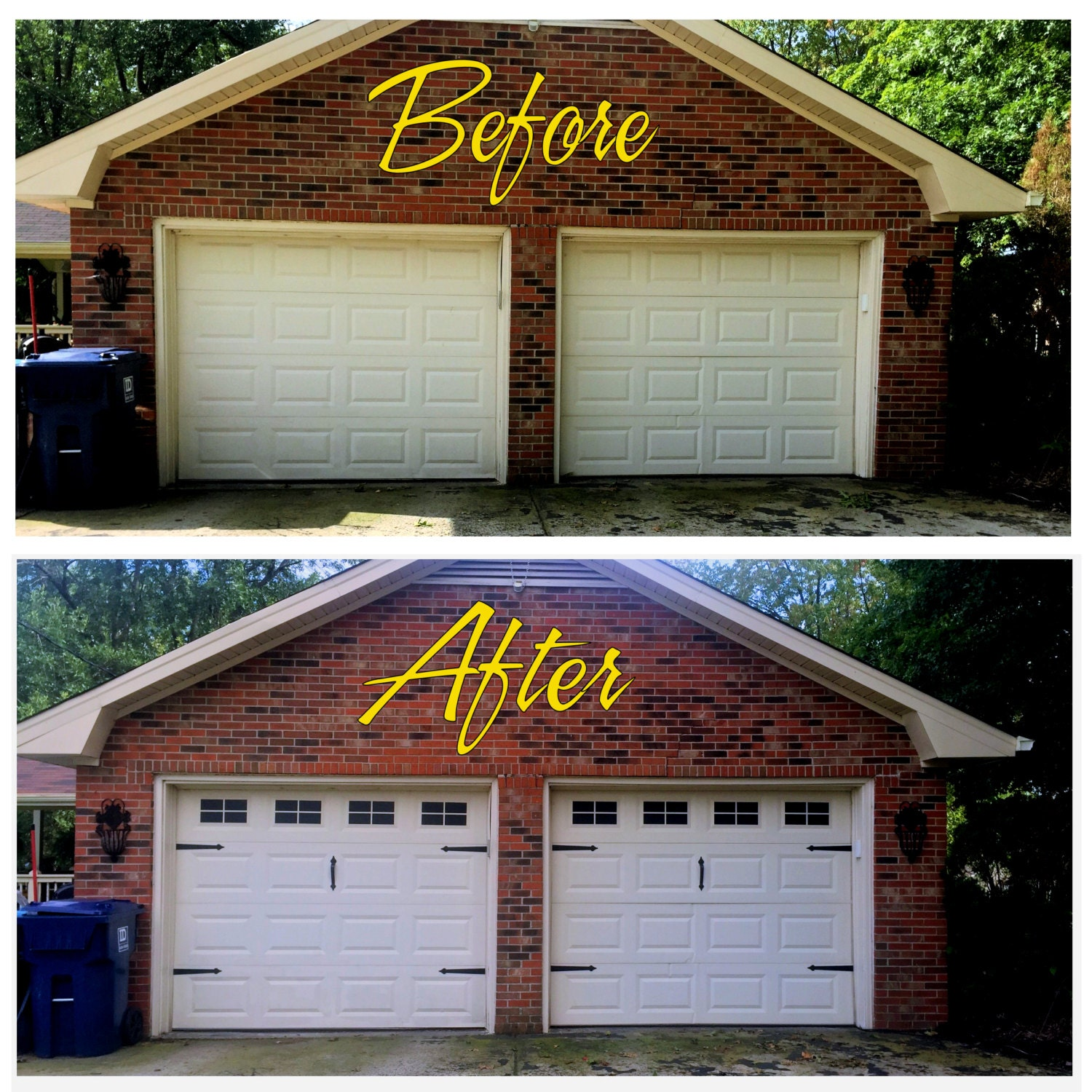 Garage Door Vinyl Window Decals: Craftsman Style Faux Garage Door Windows Vinyl Decals No
