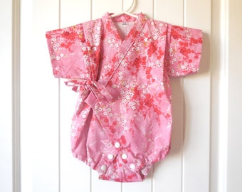 Baby Romper Jinbei Kimono with Headband, Pink Sakura