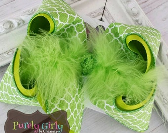 Lime Green Hairbow Exlarge  Bow Quatrefoil