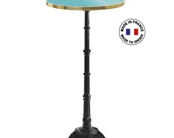 French enamel high bar table, diameter 26.6 in / Enamel bar table to customize / Genuine enamel Paris design made in France