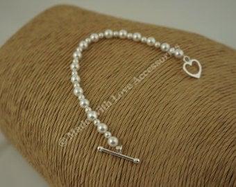 Pearl Bracelet,  Bridal Jewellery, Swarovski Pearl Bracelet, Silver Bracelet,  Wedding Accessories, Bridesmaids Gifts