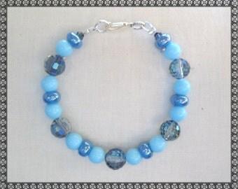 blue bracelet, light blue bracelet, blue pearls, light blue, Swarovski