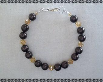 brown bracelet, Swarovski bracelet, dark brown bracelet, brown, swarovski