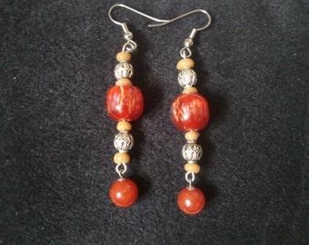 Red Marble Earrings
