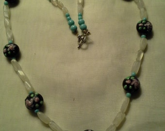 PRETTY Moonstone w/ Lampworks Necklace