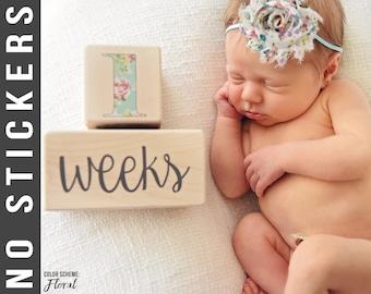 FLORAL - Baby Age Blocks - Baby Milestone Blocks - Solid Hard White Maple - Months, Years, Weeks, Grade