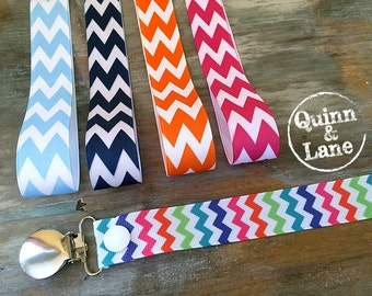 Universal Pacifier Clips YOU CHOOSE - Soothie MAM Nuk Gumdrop Soother Clips - Pacifier Holders - Chevron