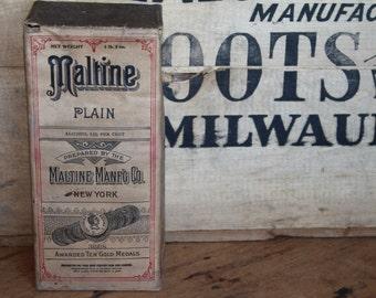 Antique Maltine Medicine Bottle Sealed In Original Box - New Old Stock Drug Store Collectible