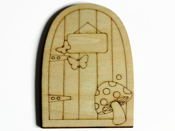 Wooden fairy door laser cut door elf door hobbit door for Wooden fairy doors