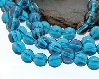Transparent Capri Blue 6mm Round Czech Glass Beads, Dark Aqua x 50