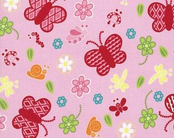 RJR Fabrics Bugsy 2628 01 Butterfly Pink Yardage by Rachael Wright