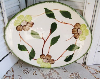 Vintage Brown and Green Flowers Floral Blue Ridge Pottery Southern Potteries  Oval Hand PaintednPlatter with Green Edge