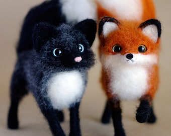 Silver FOX / Marble / Canadian / needle felted soft sculpture original OOAK handmade miniature by SaniAmani / Made To Order