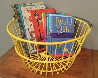 Vintage Yellow Storage Basket - Children's Basket