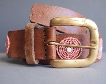 Brown leather belt/beaded belt/African belt/circle belt/hippie belt/boho belt/ethnic belt/tribal belt/native beading/festival belt