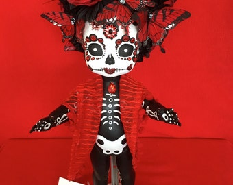 Margot Rita is a OOAK  Day of the Dead baby art doll