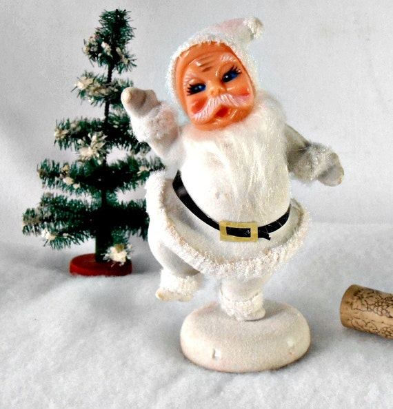 Lot Of 5 Vintage Christmas Decorations Kitsch Santa Claus: Vintage Christmas Santa White Flocked Santa Claus Kitsch
