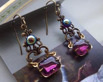 Art Nouveau ~ Purple Earrings ~ Victorian ~ Vintage Style ~ Amethyst Purple ~ Vintage Glass ~ by LadyofTheLakeJewels