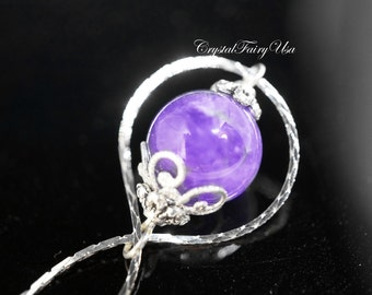 Amethyst Necklace - Amethyst Jewelry - Infinity Amethyst Necklace Silver - Genuine Amethyst Pendant - Bridesmaid Gift - Yoga Stone