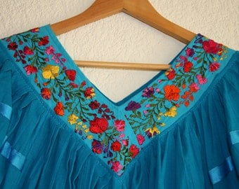 Mexican blue dress (with embroidery)