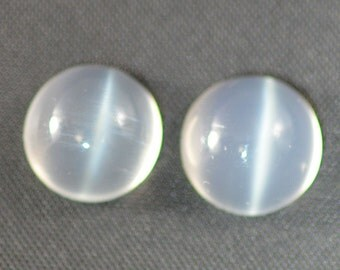 Cat's Eye Moonstone Pair of 9mm Round Cabochons