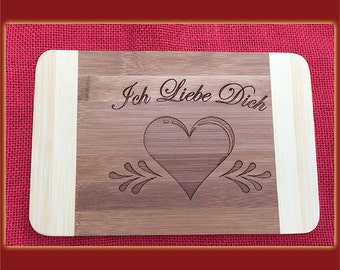 I love you heart, bamboo breakfast Board with engraving