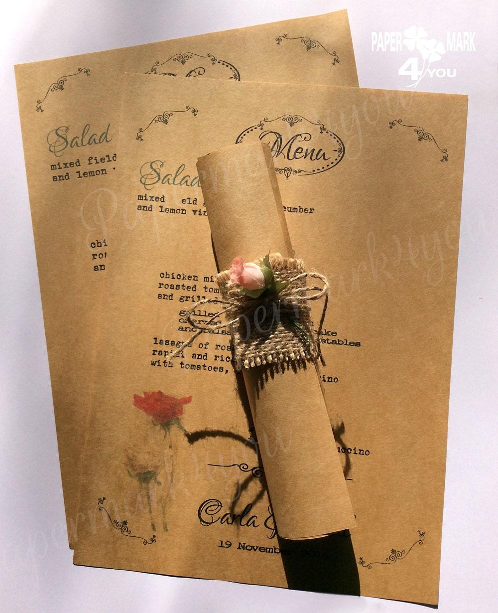Rustic Scroll Design: Rustic Scroll Menu_ Kraft Wedding Scroll Menu With