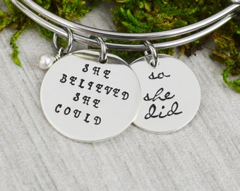 She Believed She Could So She Did Adjustable Bangle Bracelet - Stacking Bangle