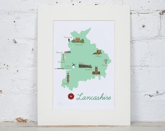 Illustrated Map of Lancashire. County Map A4/A3
