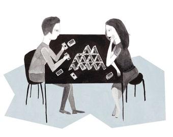 house of cards  (illustration, digital print)