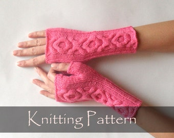 KNITTING PATTERN - Knit Gloves Pattern XO Cable Gloves Pattern Knitting Pattern Fingerless Gloves Fingerless Mittens Arm Warmers - P0011