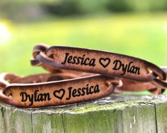 Personalized Leather Bracelet, (One Bracelet), His or Her Bracelet, boyfriend gift, girlfriend gift, wedding gift, Names Engraved Free!